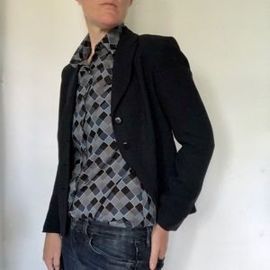 Vintage Panther Blue Checkered Blouse